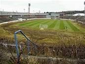 Rozpadlý brněnský stadion Za Lužánkami