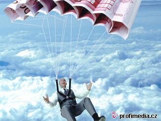Peníze, euro, boháč, padák