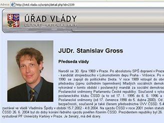 Stanislav Gross na webu Úřadu vlády