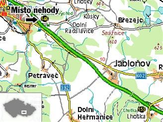 Místo nehody na 146. kilometru D1