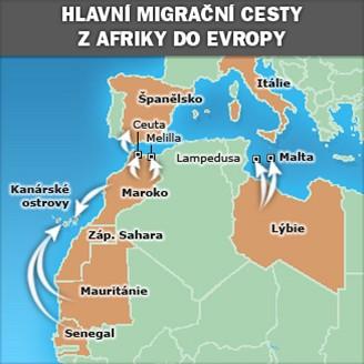 Mapka - Hlavní migrační cesty z Afriky do Evropy
