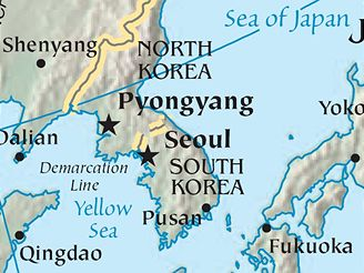 mapa - korejský poloostrov