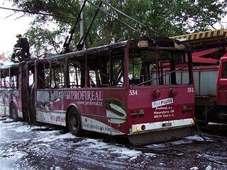 Hasiči likvidovali v Ústí nad Labem požár trolejbusu