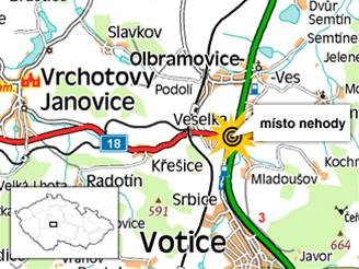 Mapka - nehoda mezi obcemi Votice a Olbramovice