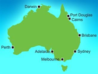 mapka Austrálie