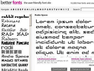 Vyberte si z největší databáze fontů: