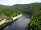 Vltavské údolí s bývalými Svatojánskými proudy z hráze Slapské přehrady