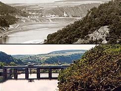 Nad Štěchovicemi, nahoře v roce 1938, dole v roce 2001