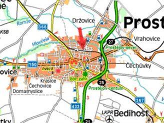 mapa nehody na přejezdu u Prostějova