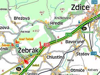 mapa nehody na D5 u Žebráku