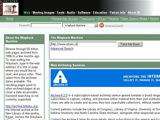 WaybackMachine, Internet Archive homepage