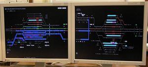 Schéma kolejiště na monitorech výpravčího
