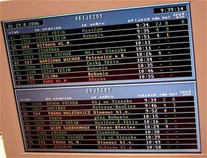 Zde vidíte na monitoru výpravčích informace, které cestující vidí vodbavovací hale