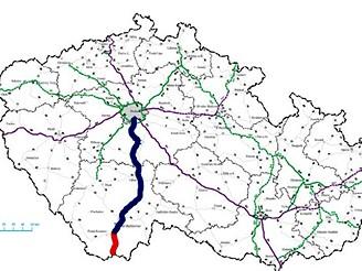 Orientační mapka - modrá linka znázorňuje plánovanou D3