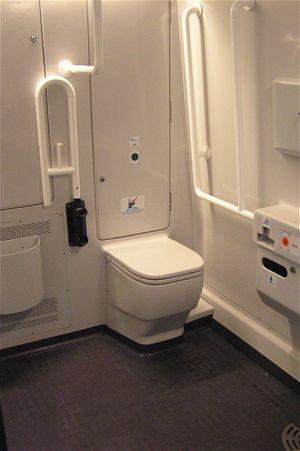 """Toaleta pro invalidy je jako jediná velmi prostorná. Dveře do WC se automaticky otevírají tak, že nezmenší prostor uvnitř ani vně. Bohužel jsou poněkud """"líné"""". A tak musíte trpělivě čekat, než se otevřou"""