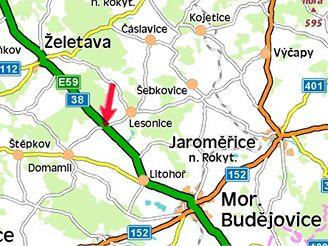 mapa, nehoda u Moravských Budějovic