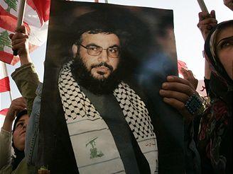 Libanonci s portrétem šéfa Hizballáhu