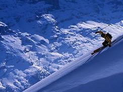 Freerider, v pozadí švýcarská hora Eiger