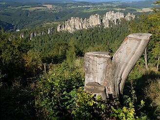 Pařez na vrchu Sokol láká kposezení a zároveň nabízí pěkný výhled