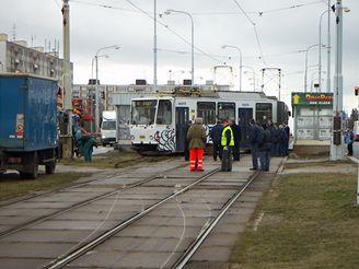 Vykolejená tramvaj v Plzni