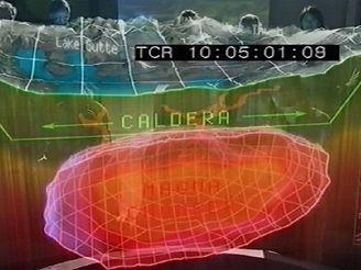 Kaldera, digitálnáí simulace kaldery v Yellowstonu