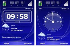 Obrazovka Nyní s digitálním a analogovým časem