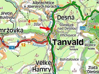 mapa, Tanvald, nehoda