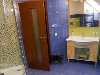 Koupelna v modrém kabátě