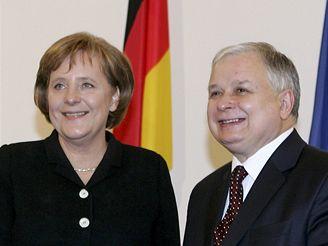 Německá kancléřka Merkelová s polským prezidentem Kaczynským