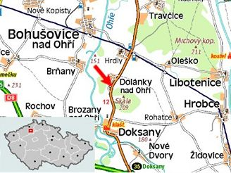 mapa nehoda Dolánky nad Ohří
