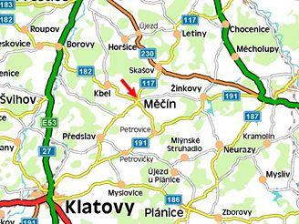 mapa, Měčín