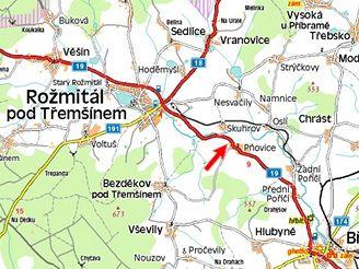 mapa - nehoda u Rožmitálu pod Třemšínem
