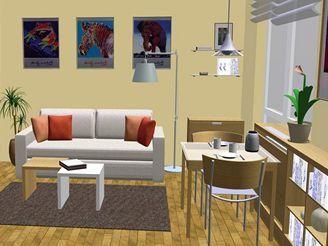 Malý obývací pokoj s kuchyňským koutem