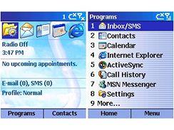 OS Smartphone 2002 - obrazovka Dnes a Menu