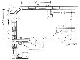 Plánek jednopokojového bytu