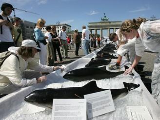Aktivisté z Greenpeace přinesli před Braniborskou bránu 17 kytovců