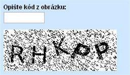 Ukázka: CAPTCHA na seznam.cz
