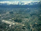 CERN letecký pohled se zákresem nového urychlovače