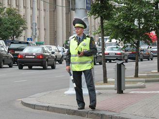 Dopravní policista v Minsku