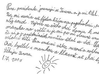 Desetiletá Tereza píše na Hrad