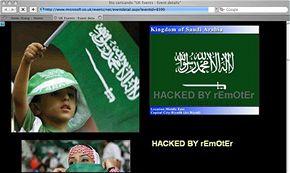 Výsledek hackerova útoku na stránky Microsoftu