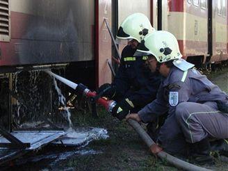 Požár vlaku v Horní Bříze