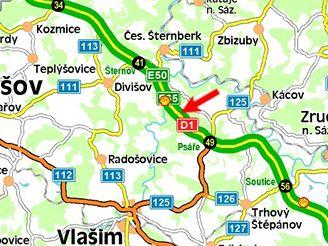mapa nehoda D1, melouny