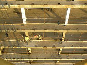 Skelet budovy před rozšířením