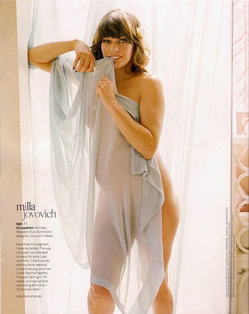 Těhotná Milla Jovovichová v magazínu Jane (2007)