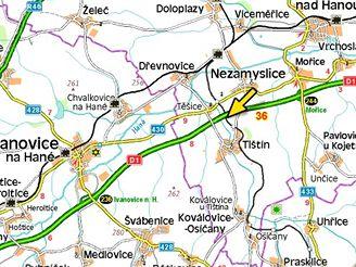 mapa, nehoda kamionu na D1 u Ivanovic