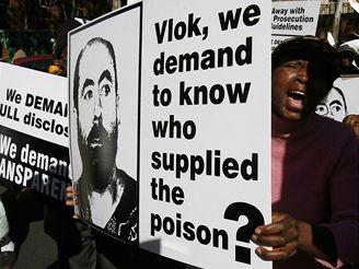 Demonstranti před soudní budovou v Pretorii