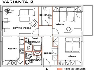 Rekonstrukce bytu - VARIANTA 2