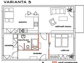 Rekonstrukce bytu - VARIANTA 5