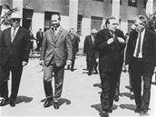 Politická jednání v roce 1968 - zleva - Alexej Kosygin, Alexander Dubček, Leonid Brežněv a Josef Smrkovský